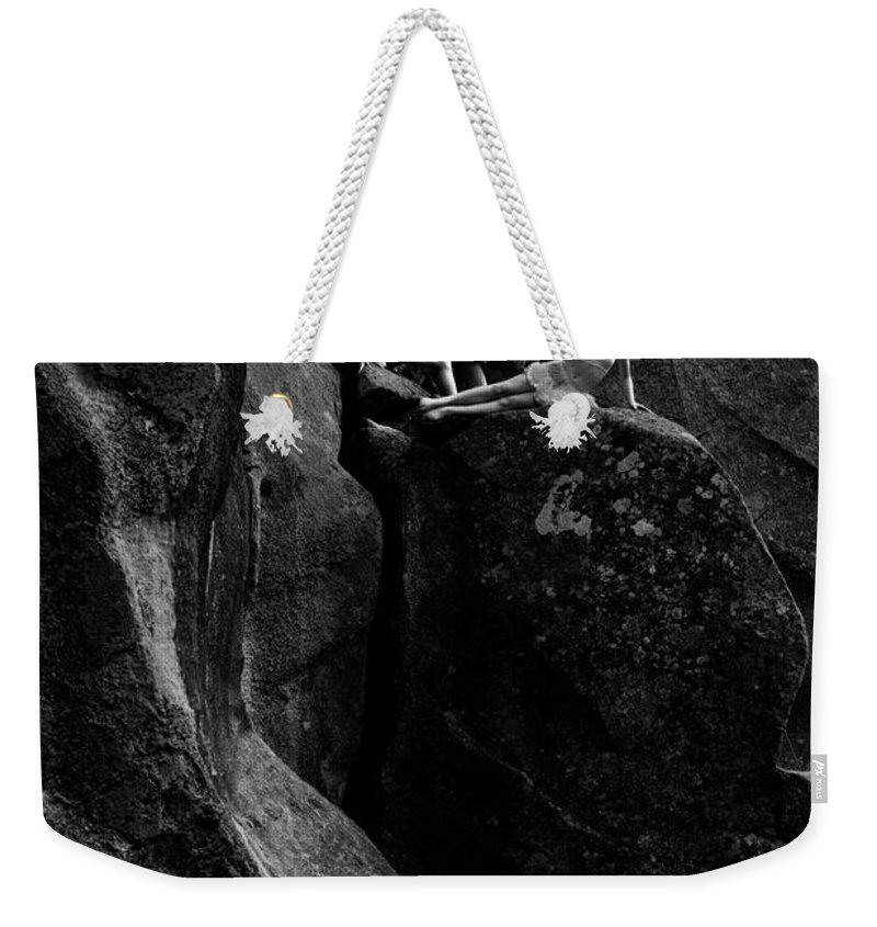 Cliff Weekender Tote Bag featuring the photograph Cliff Dancers Black And White by Scott Sawyer