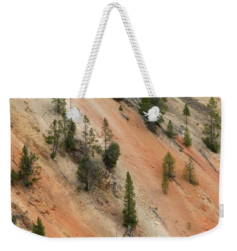 Grand Canyon Weekender Tote Bag featuring the photograph Cliff Side Grand Canyon Colors Vertical by Living Color Photography Lorraine Lynch