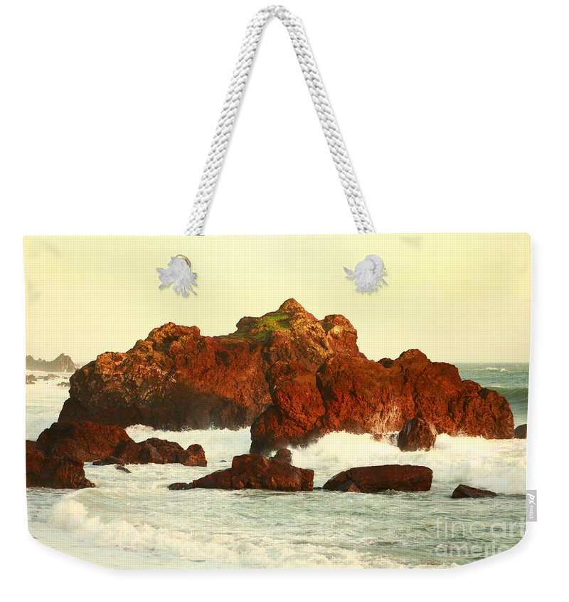 Seascape Weekender Tote Bag featuring the photograph Cliffs In The Warm Evening Light by Gaspar Avila