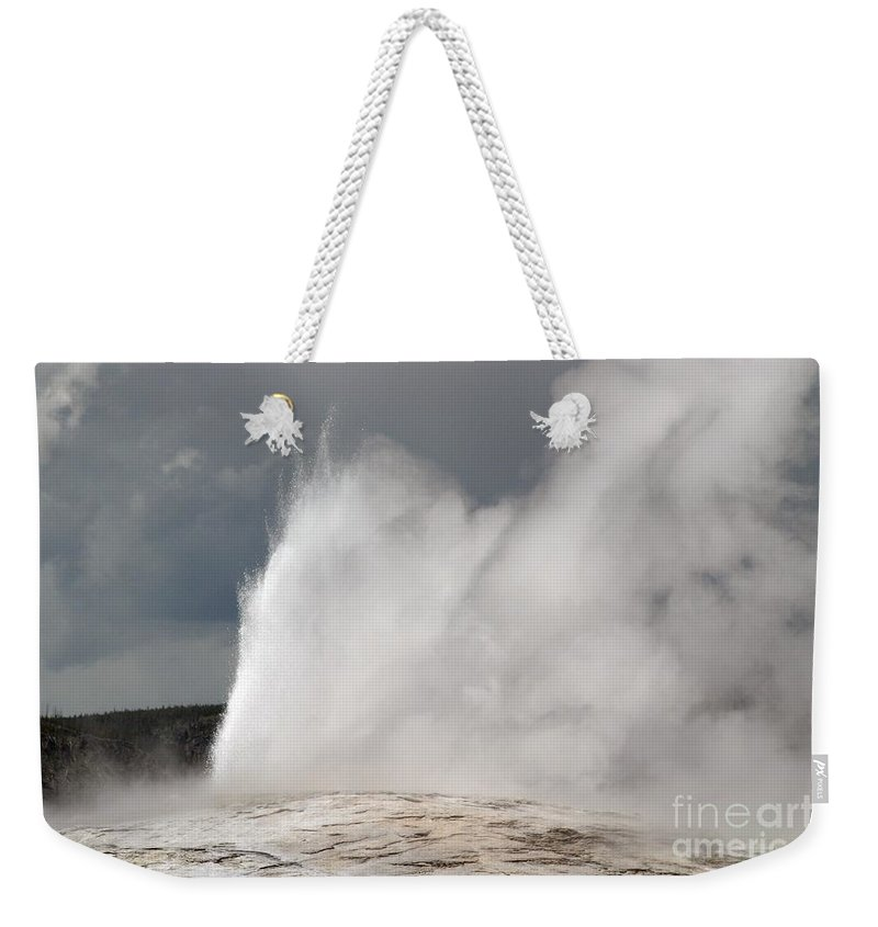 Old Faithful Weekender Tote Bag featuring the photograph Close Up Of Old Faithful by Living Color Photography Lorraine Lynch