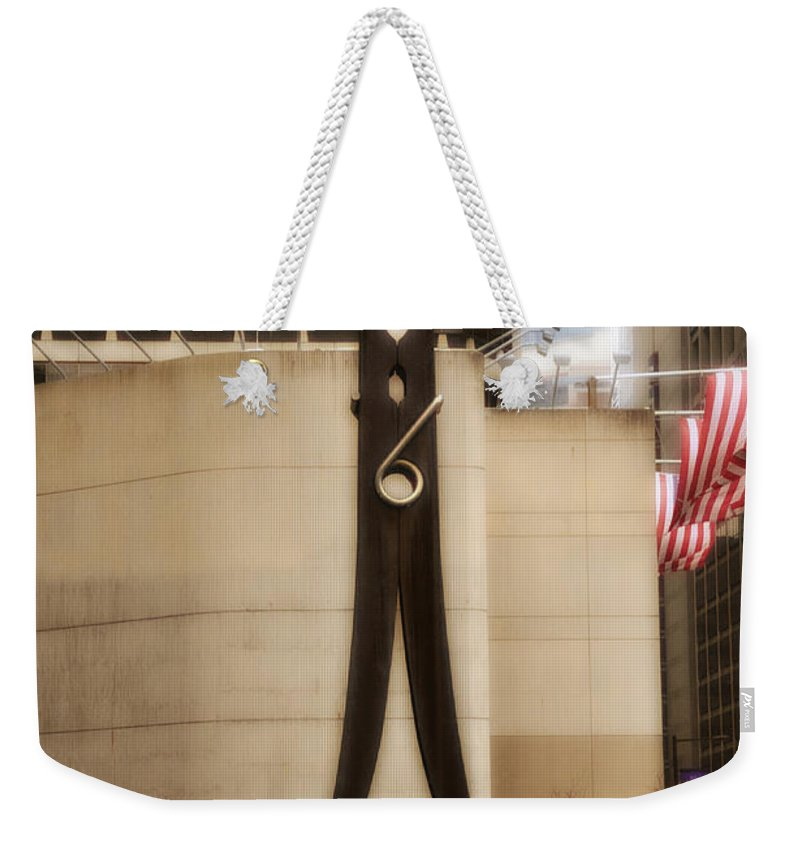 Clothes Pin Statue In Philadelphia Weekender Tote Bag featuring the photograph Clothes Pin Statue In Philadelphia by Bill Cannon