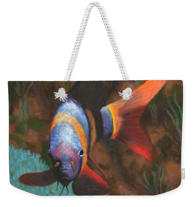 Fish Weekender Tote Bag featuring the painting Clown Warrior by Candy Prather