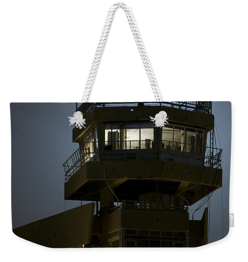 Night Weekender Tote Bag featuring the photograph Cob Speicher Control Tower by Terry Moore