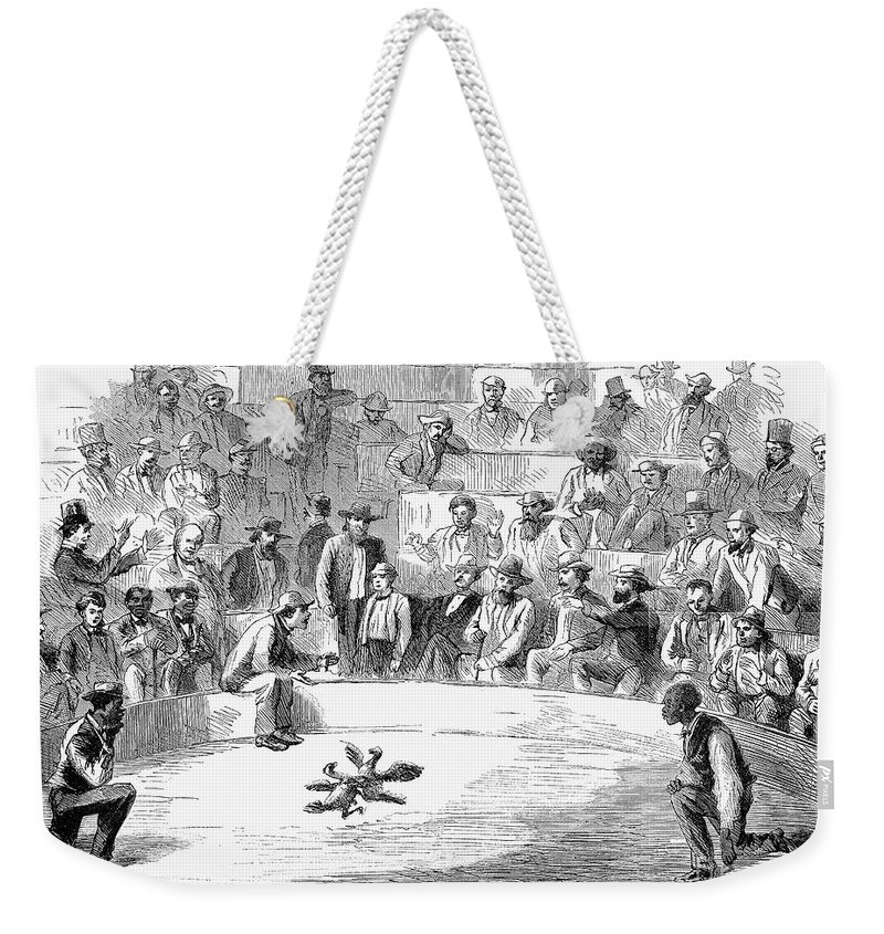 1866 Weekender Tote Bag featuring the photograph Cock Fighting, 1866 by Granger