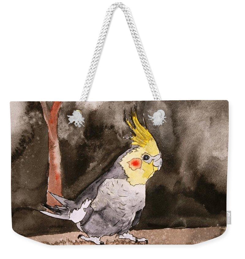 Cockatiel Weekender Tote Bag featuring the painting Cockatiel by Derek Mccrea