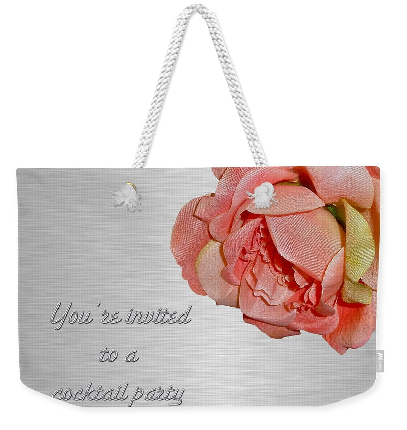 Invitation Weekender Tote Bag featuring the photograph Cocktail Party Invitation - Fabric Rose by Mother Nature