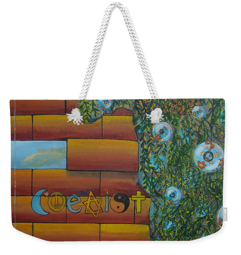 Coexist Weekender Tote Bag featuring the painting Coexist by Mindy Huntress