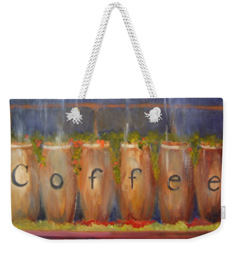 Coffee Weekender Tote Bag featuring the painting Coffee In The Window by Marcia Hero