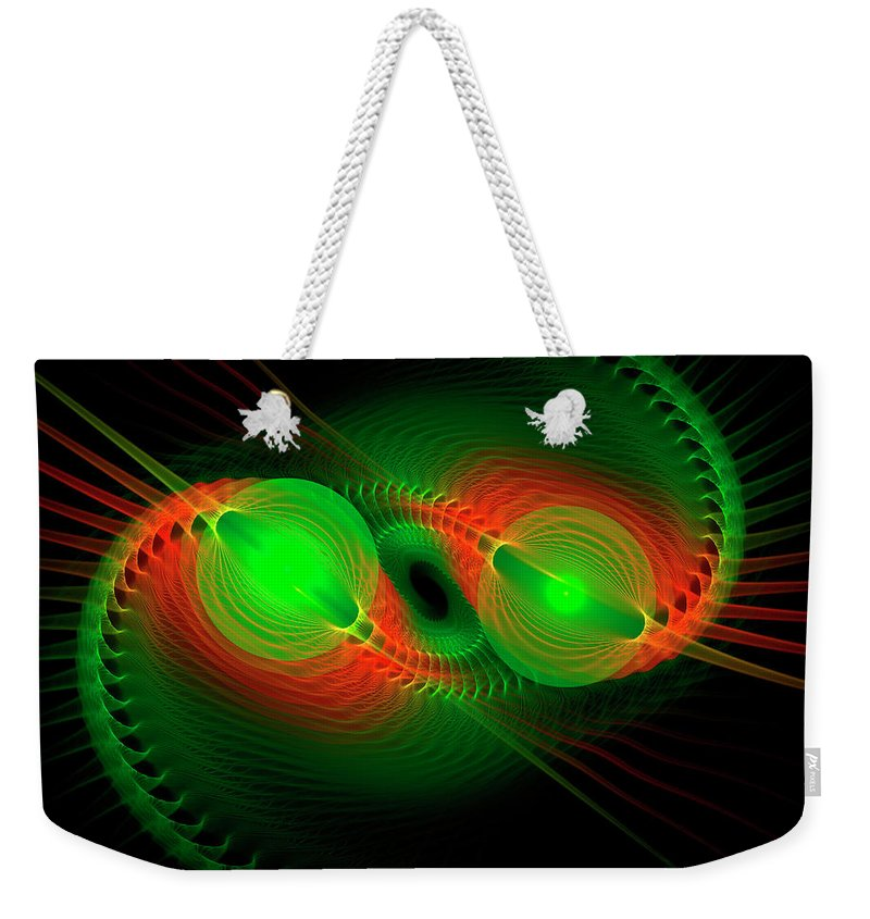 Abstract Weekender Tote Bag featuring the digital art Coiled by Carolyn Marshall