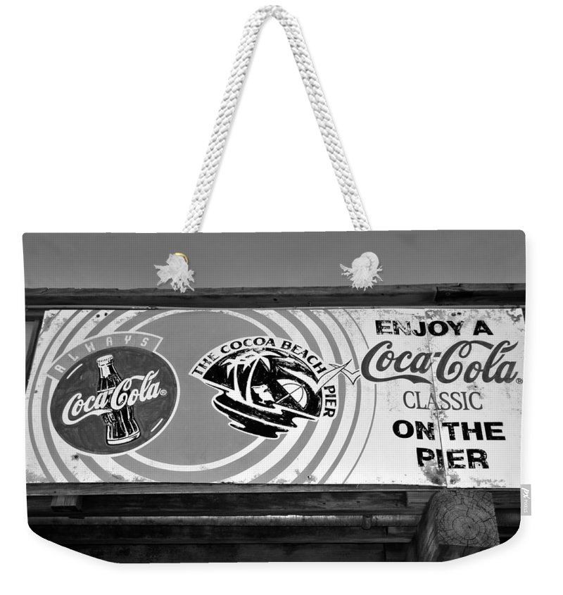Fine Art Photography Weekender Tote Bag featuring the photograph Coke At The Pier by David Lee Thompson