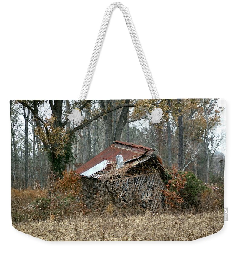 Tobacco Barn Weekender Tote Bag featuring the photograph Collapse by Travis Truelove