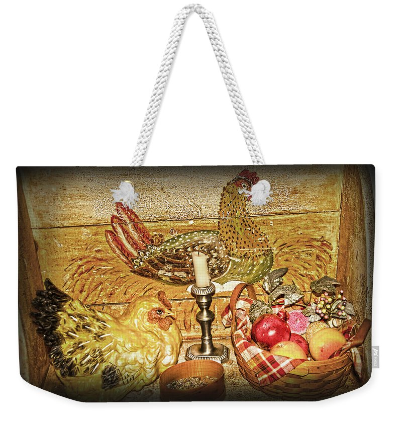Hen Weekender Tote Bag featuring the photograph Collectibles by Randall Branham