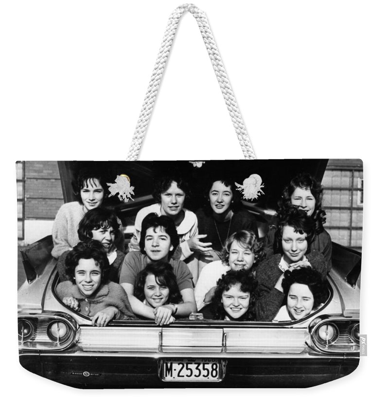 1950s Weekender Tote Bag featuring the photograph Collegiate Fun, 1960 by Granger