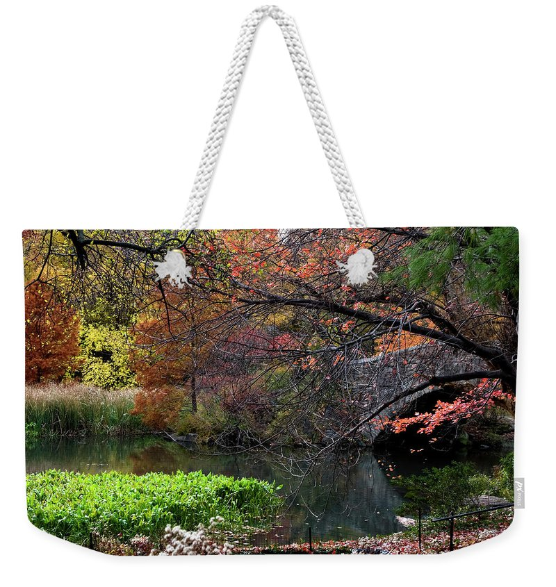 New York City Weekender Tote Bag featuring the photograph Color Splash In Central Park by Lorraine Devon Wilke