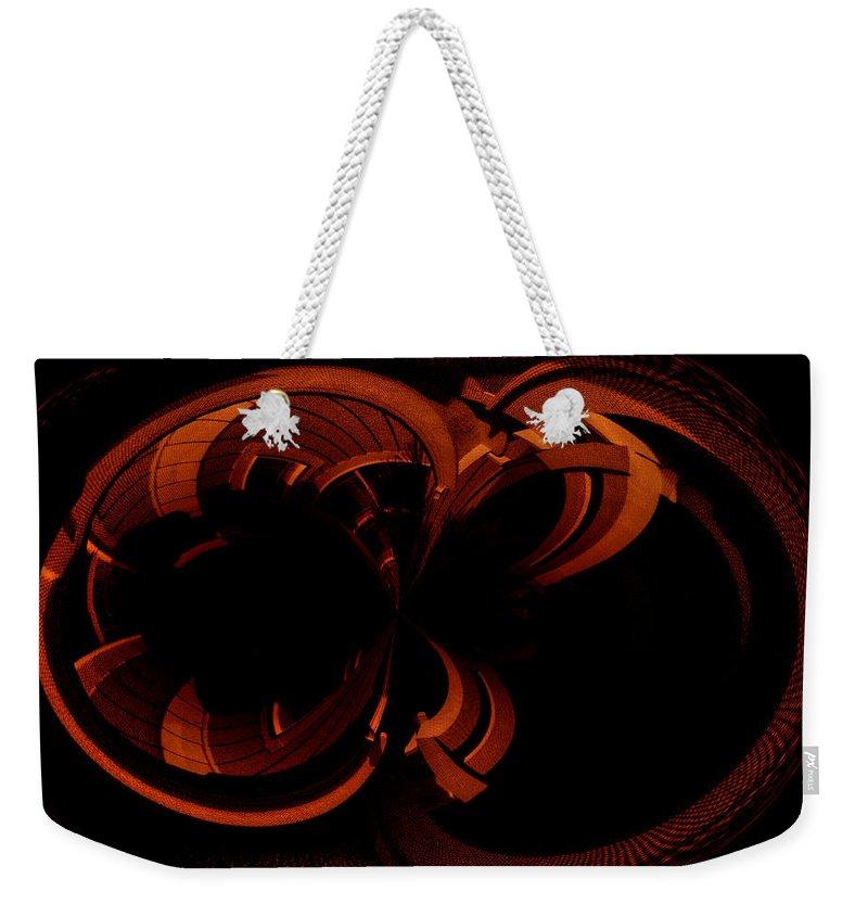 Paula Ayers Weekender Tote Bag featuring the digital art Color Study 03 Rust by Paula Ayers
