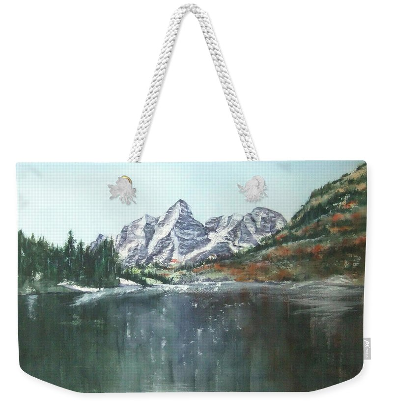 Watercolor Landscape Weekender Tote Bag featuring the painting Colorado Beauty by Debbie Lewis