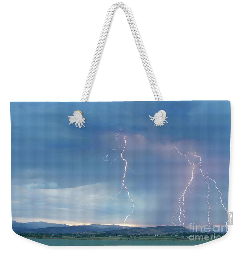 July Weekender Tote Bag featuring the photograph Colorado Rocky Mountains Foothills Lightning Strikes 2 by James BO Insogna
