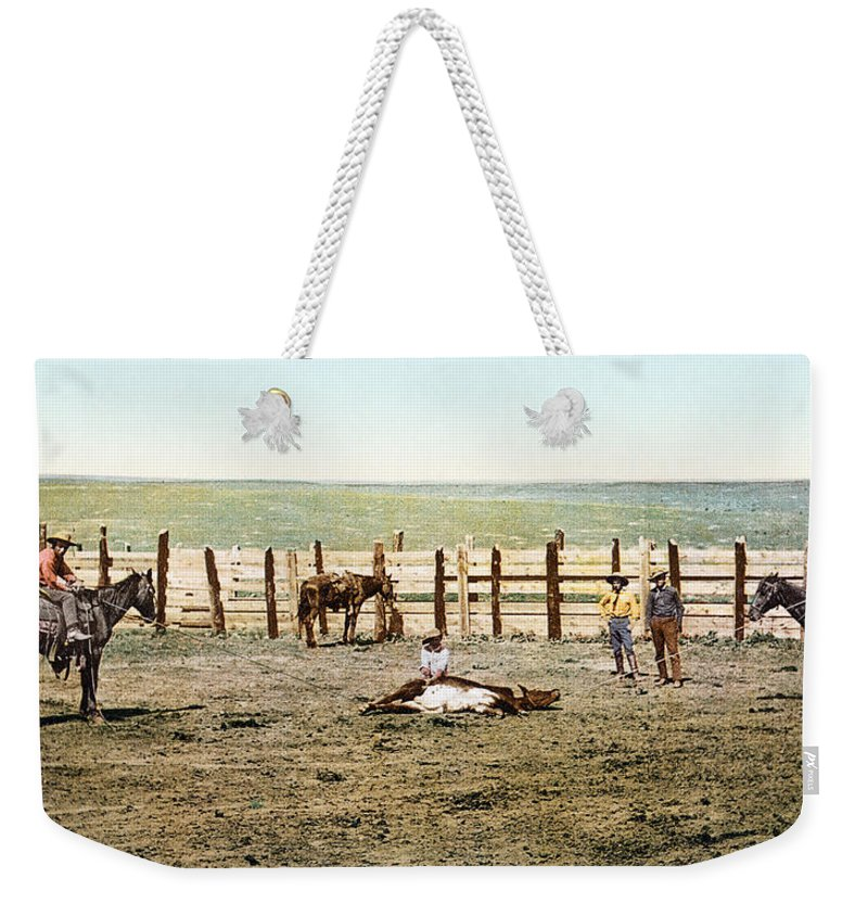 1890s Weekender Tote Bag featuring the photograph Colorado: Roping A Steer by Granger