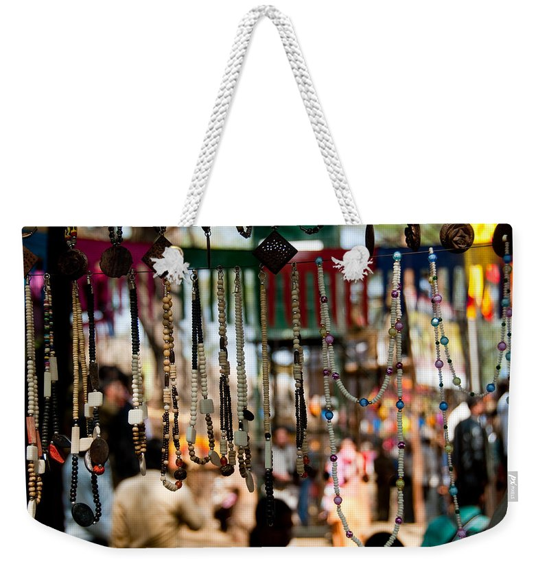 Beads Weekender Tote Bag featuring the photograph Colorful Beads At The Surajkund Mela by Ashish Agarwal