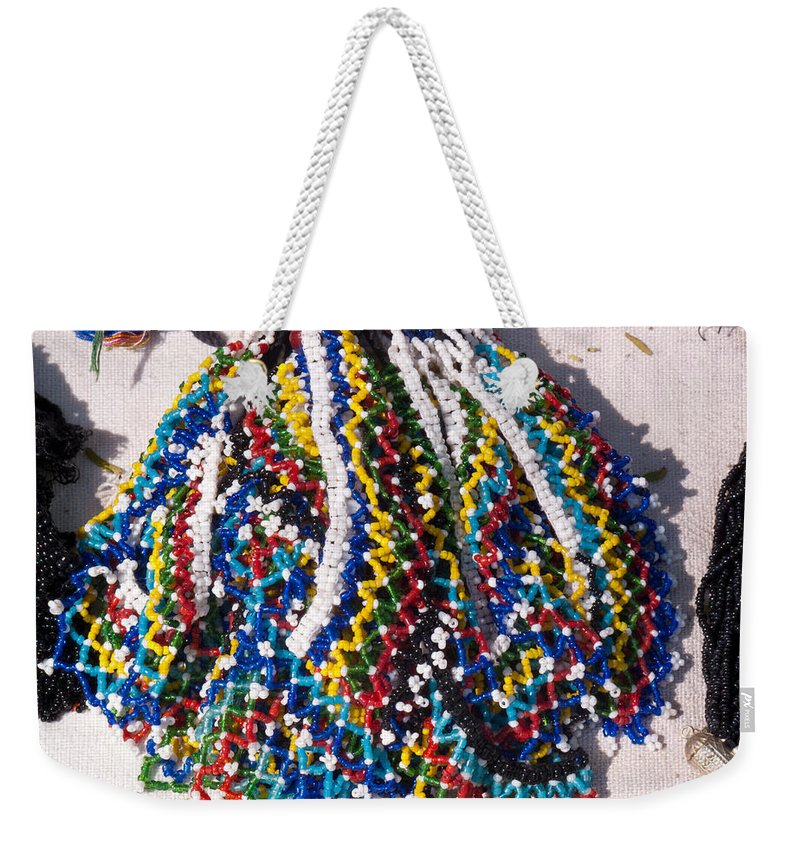 Beads Weekender Tote Bag featuring the photograph Colorful Beads Jewelery by Ashish Agarwal