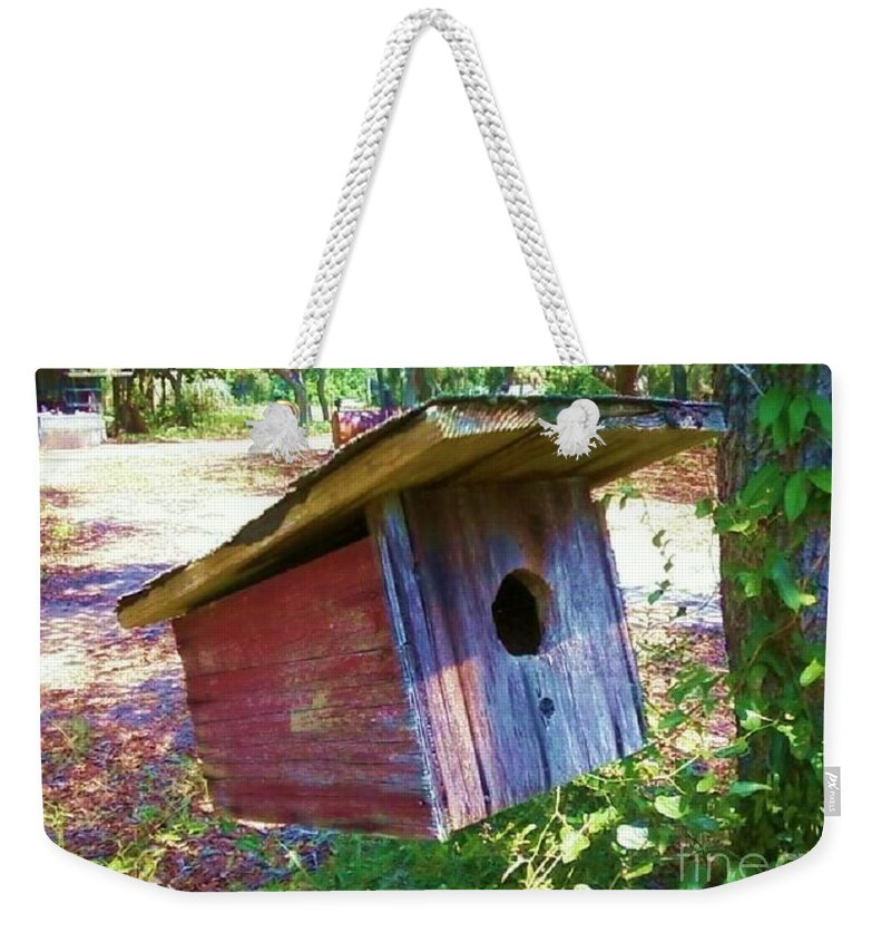 Bird House Weekender Tote Bag featuring the photograph Colorful Birdie House by Michelle Powell