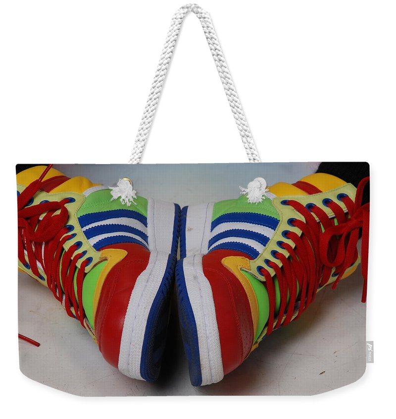 Shoe Weekender Tote Bag featuring the photograph Colorful Clown Shoes by Richard Bryce and Family