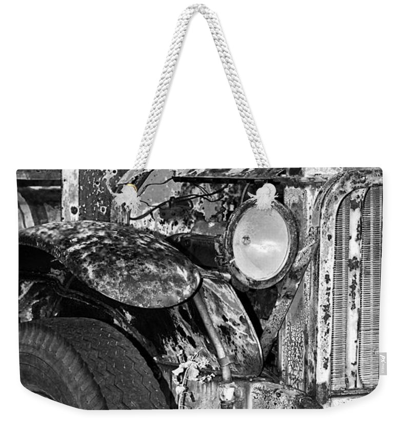 Car Weekender Tote Bag featuring the photograph Colorful Vintage Car In Black And White by Phyllis Denton