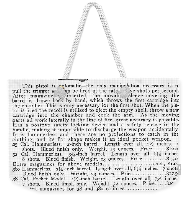 20th Century Weekender Tote Bag featuring the photograph Colt Automatic Pistols by Granger