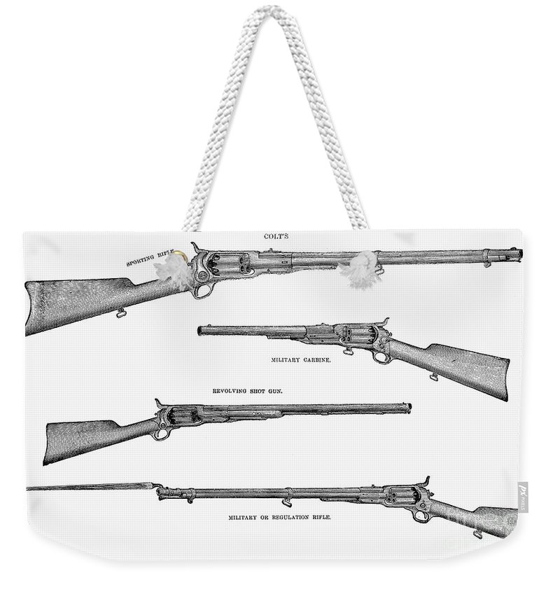1867 Weekender Tote Bag featuring the photograph Colt Weapons, 1867 by Granger