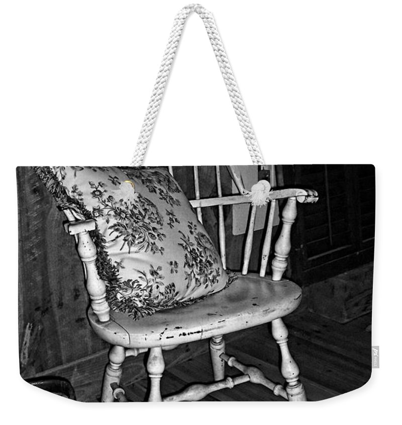 Chair Weekender Tote Bag featuring the photograph Come And Sit A Spell by Kathy Clark