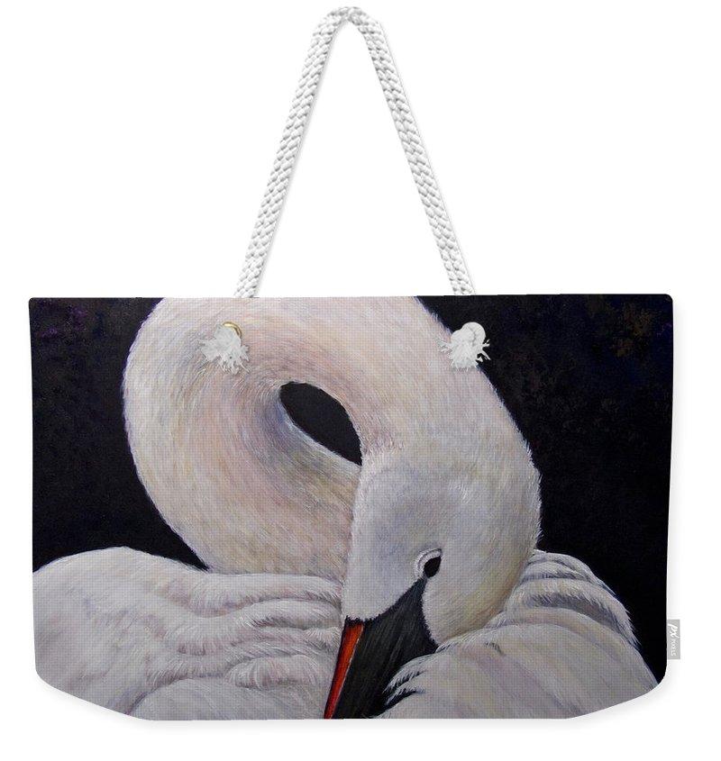 Swan Weekender Tote Bag featuring the painting Comfort by Dee Carpenter