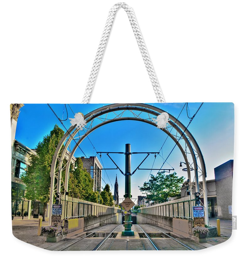 Weekender Tote Bag featuring the photograph Coming And Going Downtown Main St by Michael Frank Jr