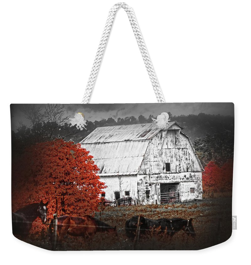 Barn Weekender Tote Bag featuring the photograph Coming In by Randall Branham