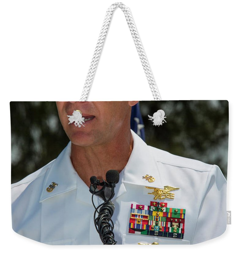 Military Weekender Tote Bag featuring the photograph Command Master Chief Bryan Yarbro by Michael Wood
