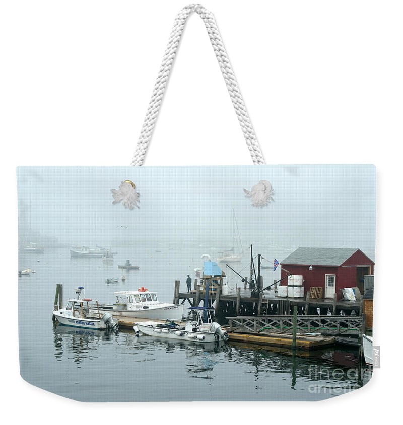 Commercial Lobster Dock Weekender Tote Bag featuring the photograph Commercial Lobster Dock by Ted Kinsman