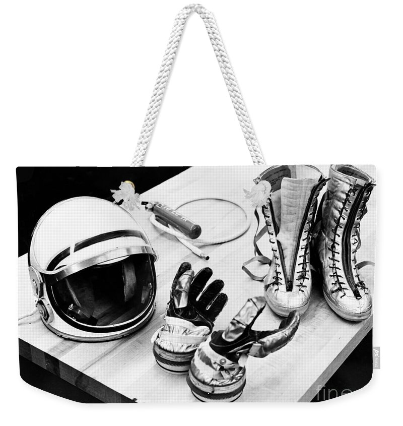 Display Weekender Tote Bag featuring the photograph Components Of The Mercury Spacesuit by Stocktrek Images