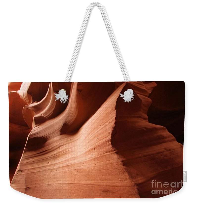 Antelope Canyon Weekender Tote Bag featuring the photograph Compresion Column by Adam Jewell