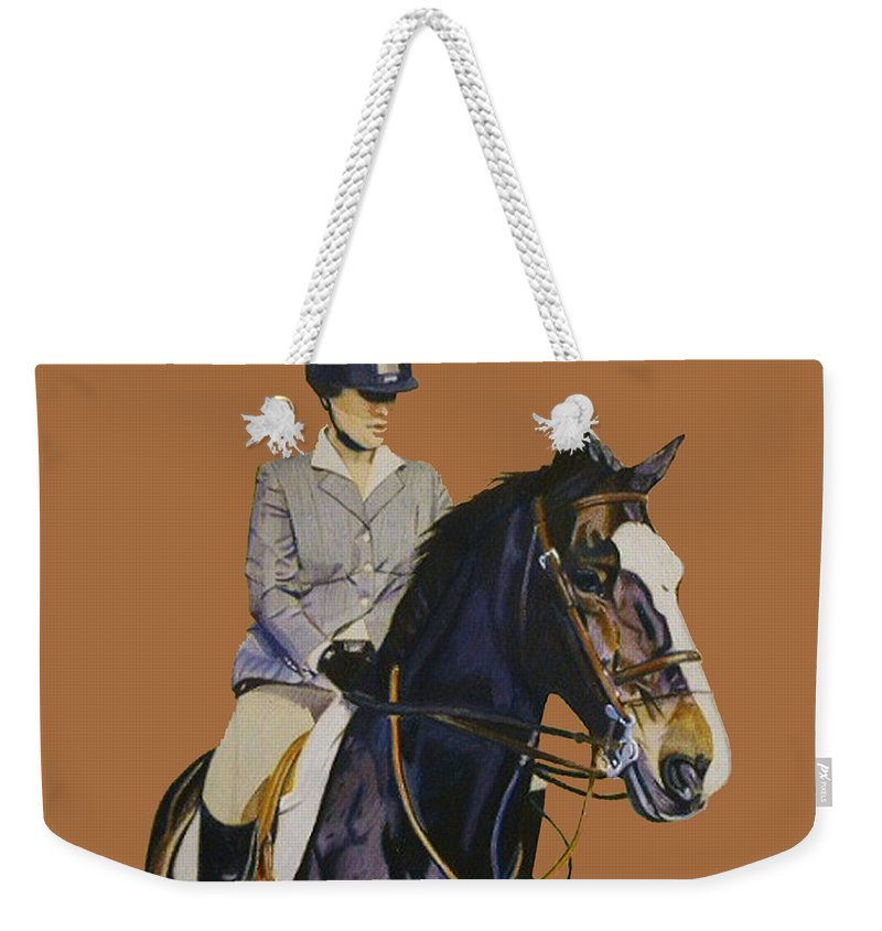 Hunter Weekender Tote Bag featuring the painting Concentration - Hunter Jumper Horse And Rider by Patricia Barmatz