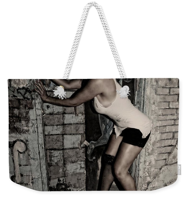 Woman Weekender Tote Bag featuring the photograph Concrete Velvet 33 by Donna Blackhall