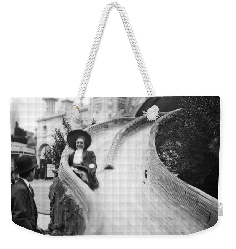 20th Century Weekender Tote Bag featuring the photograph Coney Island: Slide by Granger