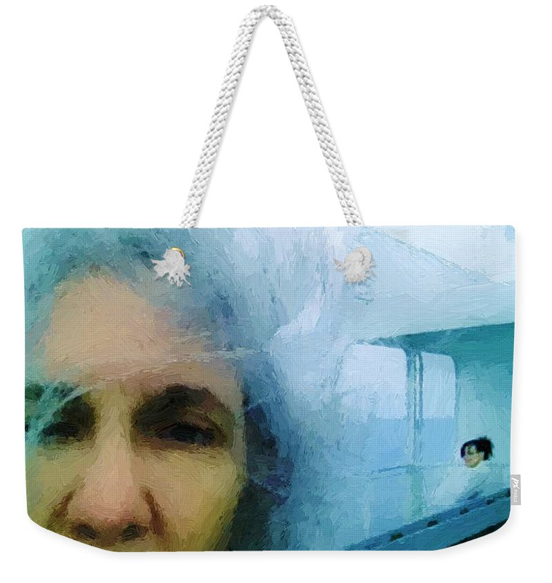 Woman Weekender Tote Bag featuring the painting Confronting The Ferryman by RC DeWinter