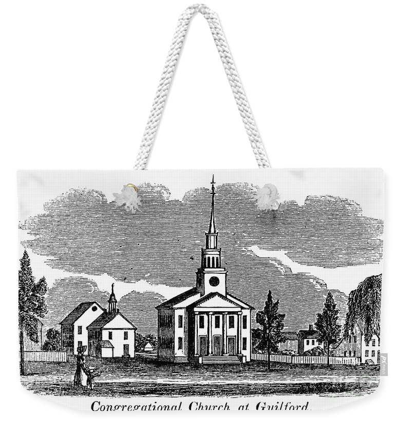 1836 Weekender Tote Bag featuring the photograph Connecticut: Church, 1836 by Granger