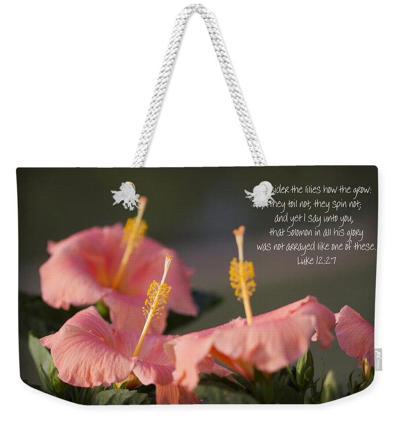 Peach Weekender Tote Bag featuring the photograph Consider The Lilies How They Grow by Kathy Clark
