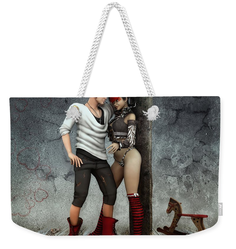 3d Weekender Tote Bag featuring the digital art Cool And Striped Together by Jutta Maria Pusl