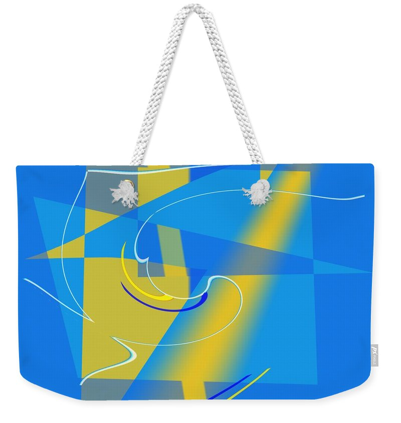 Cool Weekender Tote Bag featuring the digital art Coolbluelines by Helmut Rottler