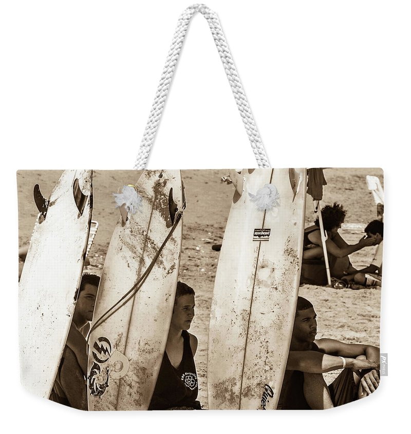 Surfing Weekender Tote Bag featuring the photograph Cooling Off by Shannon Harrington