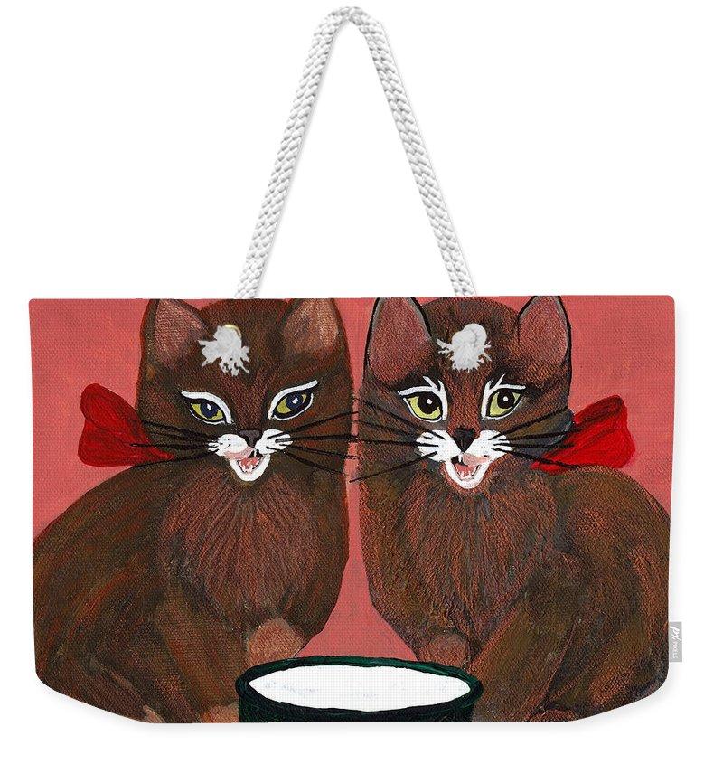 Animals Weekender Tote Bag featuring the painting Copper Kitty by LeeAnn McLaneGoetz McLaneGoetzStudioLLCcom
