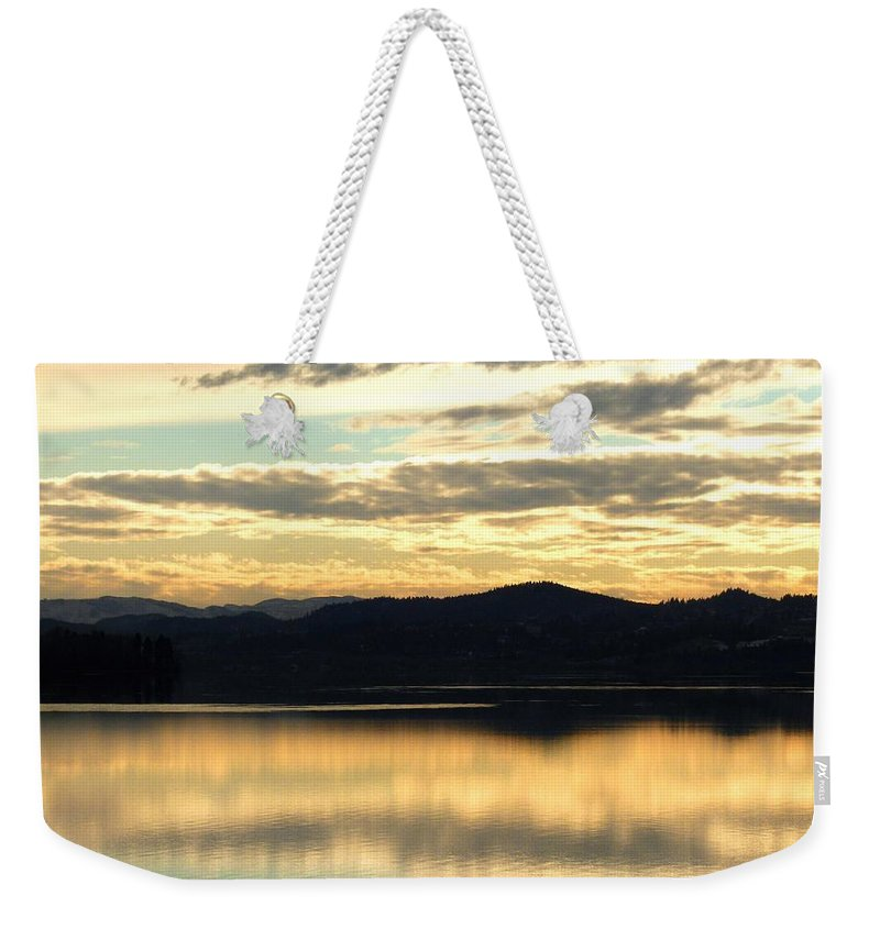Copper Sky Weekender Tote Bag featuring the photograph Copper Sky And Reflections by Will Borden
