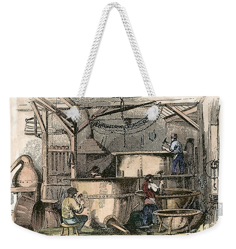 1860s Weekender Tote Bag featuring the photograph Coppersmiths, C1865 by Granger