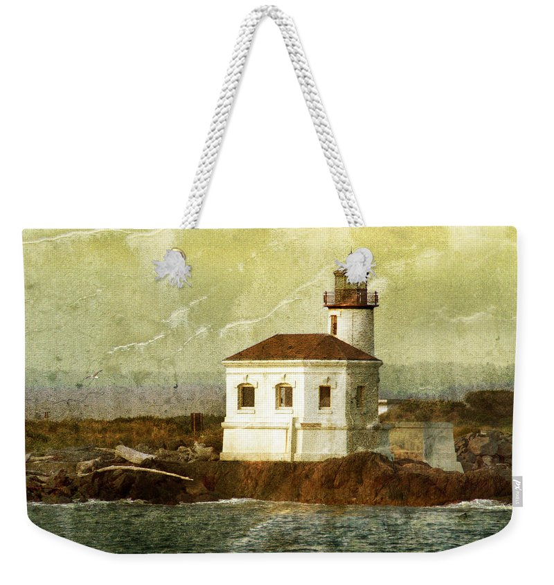Lighthouse Weekender Tote Bag featuring the photograph Coquille River Lighthouse by Jill Battaglia